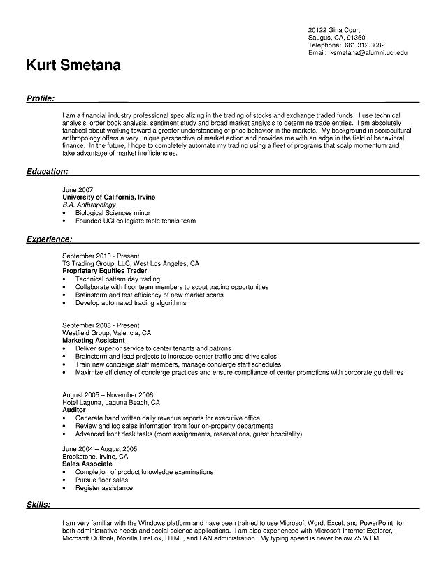 Formatted copy of resume